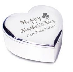 Mothers Day Gift Ideas - Personalised 'Happy Mother's Day' Heart Trinket Box - £13.99