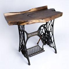 Black Walnut side table with Singer base.