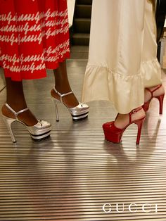 Spring Summer 2016 Accessories · A glimpse of the double platform T-strap  pumps in metallic silver and hibiscus red 20e1f6c5dc2