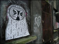 Collection: Owl Graffiti and Street Art Part II - owl chalk design - #owl #graffiti  #owlstreetart