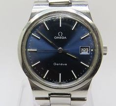 Vintage OMEGA GENEVE Stainless Steel Mechanical Men Used Watch