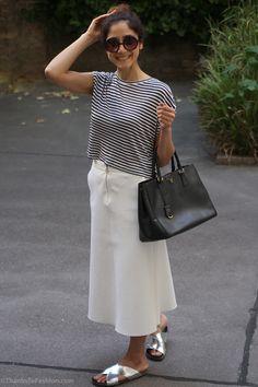 #culottes #midi #skirt #silver #Birkenstock www.thankstofashion.com