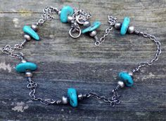 Kingman turquoise sterling silver necklace by LisasLovlies on Etsy
