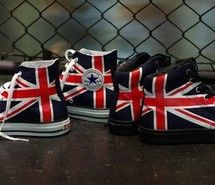 """The Converse """"Union Jack"""" Pack uses two classic models of the Chuck Taylor  Hi and Jack Purcell Hi. Both pairs utilizes the British flag in either a  Black or ... 1caa38fe08"""