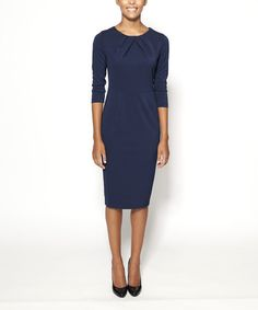 Take a look at this Navy Lexington Three-Quarter Sleeve Dress by emploi New York on #zulily today!