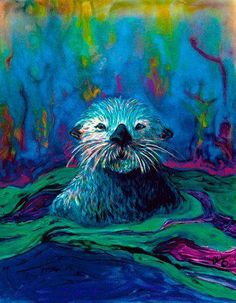 Sea Otter Open Edition Signed Poster Print Chris Wakefield