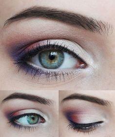 Beautiful pink, white & purple eye makeup.  Model is brunette with blue, green & brown eyes