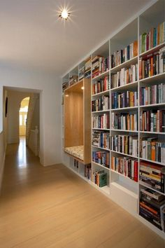 Reading nook built into shelves. Home Library Design, House Design, Shelves, Home Remodeling, New Homes, House Interior, Reading Nook, Shelving, Home Library