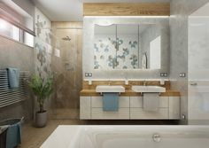 Rodinná koupelna s obkladem s 3D efektem | AŤÁK DESIGN Villa, Vanity, Mirror, Bathroom, Furniture, Home Decor, Dressing Tables, Washroom, Powder Room