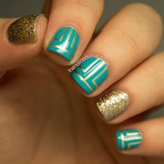 gold teal stripes