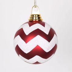 "Red Matte and White Glitter Chevron Shatterproof Christmas Ball Ornaments 4"" (100mm)"
