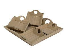 Set de 5 bandejas con asas en madera de pino Manzanas