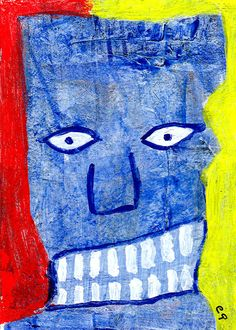 baby-back ribs e9Art ACEO Palette Knife Abstract Outsider Painting Art Brut Raw Folk