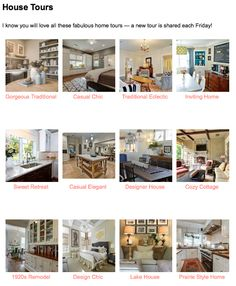 Over 100 Fabulous House Tours ... New Tour Shared Each Friday!