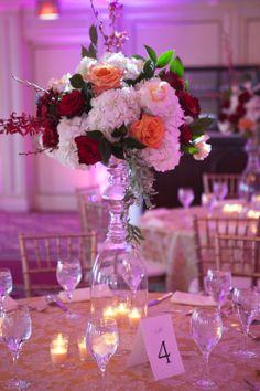 Pink Lotus Events, Boston Indian Wedding Planner, Taj Boston Wedding, Ivory Wedding Inspiration, Indian Wedding Inspiration, Red Peach Ivory Wedding, Tall Centerpiece Ideas  Photo by: BINITA PATEL (www.binitapatelphotography.com)