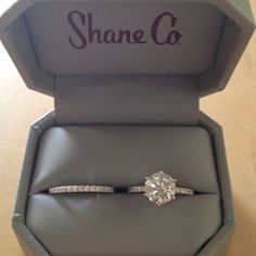 big round cut diamond solitaire. diamond wedding band. BEAUTIFUL