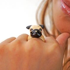 Original Pug Ring by MONVATOO London - puggy face on your finger!