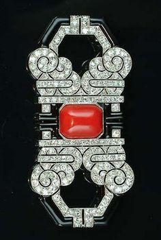 Art Deco Coral, Enamel + Diamond Brooch 1925
