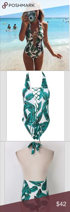 Green Leaf and White One Piece Swimsuit Tropical Green Leaf and White One Piece Swimsuit   Tie front that can be styled to be more opened or closed. Lined cups Polyester/Spandex Beach Wave Swim One Pieces