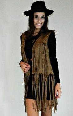Colete feminino suede com franjas hippie