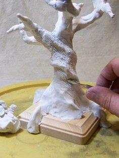 Applying bark texture to polymer clay tree