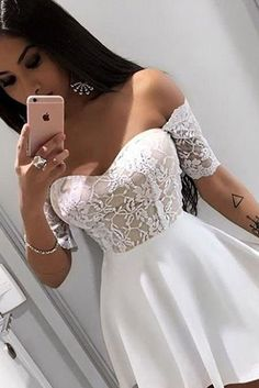 Mini Off Shoulder Short Sleeves Homecoming Dress with Lace, Short Cocktail Dress This dress could be custom made, there are no extra cost to do custom size and color. Junior Homecoming Dresses, Prom Party Dresses, Prom Gowns, Bridesmaid Dresses, V Dress, Lace Dress, Different Dresses, Short Cocktail Dress, Classy Dress