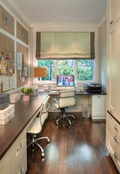 Office U0026 Workspace: Narrow Home Office Design Accompanied With L Shaped  Office Desk Plus 2 Stunning White Swivel Chairs
