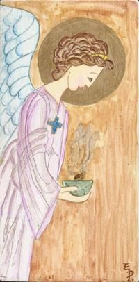 "Polixeni R ""My Angel""  This is hand painted Angel on Timber block 10 cm x 22.5 cm."