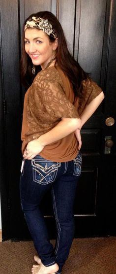 Camel Colored Lace Sleeved Top