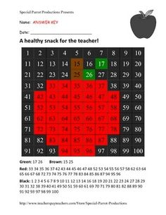 A simple hundreds chart Back to School activity. Follow the directions and create an apple for your new teacher. A great way to reinforce number sense. Includes two versions one with number chart filled out and one with number chart that students fill in.Free, fun and functional back to school activity.Enjoy!Keep up to date on Special Parrot Productions promotions, sales and giveaways by liking our Facebook page: https://www.facebook.com/SpecialParrotProductions Special Parrot Productions...