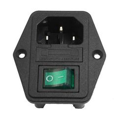 Black Green AC 250V 10A 3 Terminal IEC320 C14 Power Socket w Fuse Holder | eBay