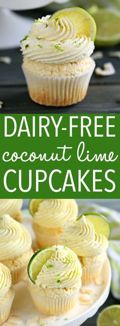 These Dairy-Free Coconut Lime Cupcakes are the perfect summer cupcake recipe with a delicious citrus flavour! Made with no dairy and real coconut! Kokos Desserts, Coconut Desserts, Köstliche Desserts, Delicious Desserts, Dessert Recipes, Dip Recipes, Keto Recipes, Dairy Free Recipes, Baking Recipes