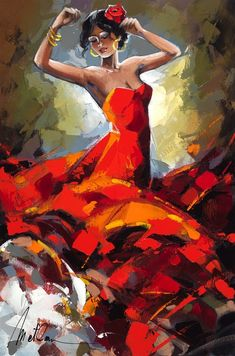 "The Story Behind Anatoly Metlan's Flamenco Dancers ""Beautiful Musical Episodes"" Anatoly Metlan Ballet Painting, Dance Paintings, Fantasy Paintings, Painting & Drawing, Spanish Dancer, Spanish Art, Dance Wallpaper, Dance Art, Jazz Dance"