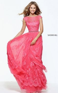 2017 Coral Floral Lace Beaded Prom Dress