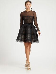 Oscar De La Renta Sheer Lace Cocktail Dress in Black | Lyst