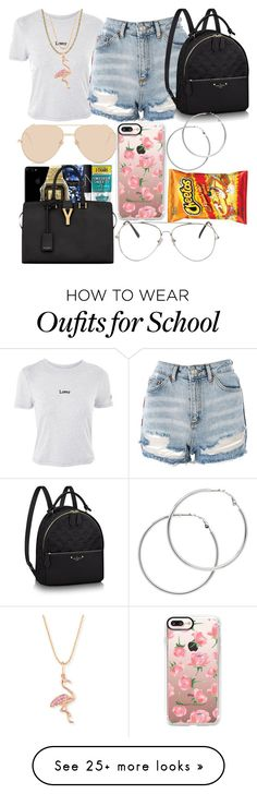 """Going to the beach for the night"" by goddess12 on Polyvore featuring Topshop, Linda Farrow, Casetify, Lord & Taylor, Melissa Odabash and Sydney Evan"