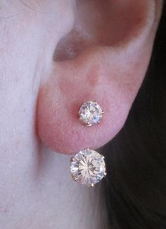 CZ Front Back Ear Jacket Double Solitaire Earrings Yellow Gold Plated #Stud