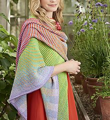 This striking modern shawl is made using the illusion knitting technique. The combination of color and stitches creates a unique look to the shawl depending on which angle you view it from. There's also a crochet version available called 'Crochet between the lines'.