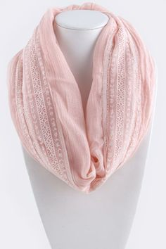 "This gorgeous lace centered infinity scarf is fresh, feminine, and flirty. Perfect for any spring and summer outfit. • Approx 21"" width x 62"" length 100% viscose"