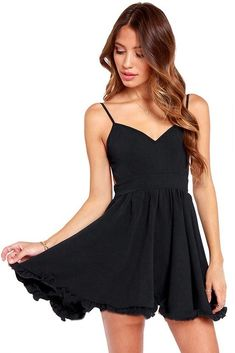 IzChic Black Strappy Open back Chiffon Skater Dress 50d0985d2