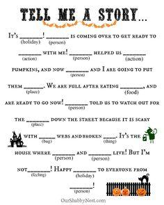 Αποτέλεσμα εικόνας για printable mad libs for fourth graders Halloween Class Party, Halloween Activities, Holiday Activities, Holidays Halloween, Halloween Kids, Halloween Crafts, Happy Halloween, Halloween Games Adults, Halloween Camping