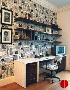 Renovando o escritório: Jornal nas paredes ;)