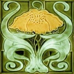 Art Nouveau Tile. Ambrose Brook c1913? – RS0936. Note: this is a very similar design to RS0993, a Marsden tile.