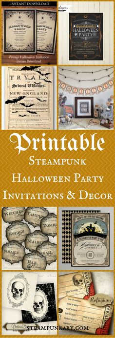 Printable Steampunk Halloween Party Invitations & Decor