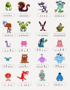 Music With Mrs. Tanenblatt: Rhythm Monsters for arranging Music Lessons For Kids, Music Lesson Plans, Music For Kids, Preschool Music, Music Activities, Movement Activities, Music Worksheets, Primary Music, Music School