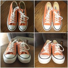 "Orange converse  I bought these a long time ago, and I don't think I've ever worn them. They're in great condition! See all photos. There are some slight ""dirty"" spots shown in the fourth photo, but nothing major! I love these, but I don't wear them. They're a sherbet neon orange color- the box says ""tangerine"".  Ask any questions! They're a men's size 5, and a women's size 7. They come with the box! Price firm. Converse Shoes Sneakers"