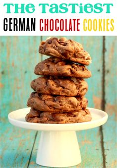 Easy Cookie Recipe! These German Chocolate Cookies are such an easy + decadent dessert that I know you'll love. Go give them a try this week! Cake Mix Cookie Recipes, Delicious Cookie Recipes, Yummy Cookies, Cookies Soft, Desserts Menu, Fall Dessert Recipes, Plated Desserts, Drink Recipes, Chocolate Cake Mix Cookies