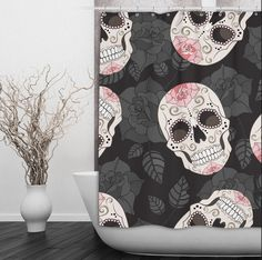 Sugar Skull and Black Rose Shower Curtain