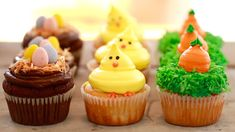 Small Batch Carrot Cake, Baby Chick Vanilla, Flourless Chocolate Cupcakes and for Spring. This recipe makes just 4 cupcakes. Perfect for making in a small toaster oven.