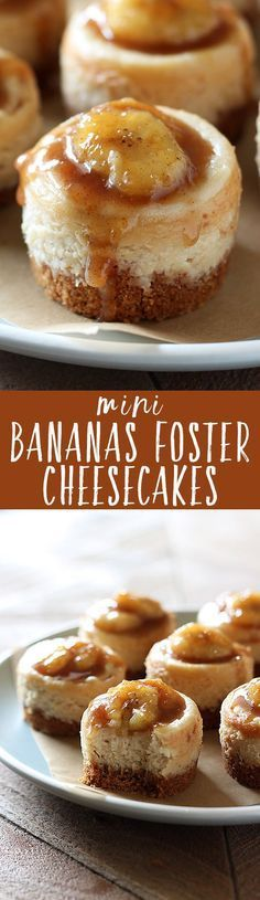 need to visit a fancy restaurant to enjoy Bananas Foster! Mini Bananas Foster Cheesecakes have tons of caramelized banana flavor and luscious texture. Not to mention they're perfectly adorable! Mini Desserts, Just Desserts, German Desserts, Jello Desserts, Apple Desserts, Sweet Desserts, Christmas Desserts, Yummy Treats, Sweet Treats
